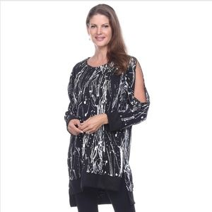 HOST PICK! Cold Shoulder Splash Tunic - Black